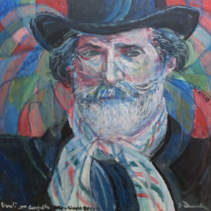 """""""Giuseppe Verdi with hat and a tricolor's scarf"""" 2013 cm 80 x 80 - Price: $ 25,000.00"""
