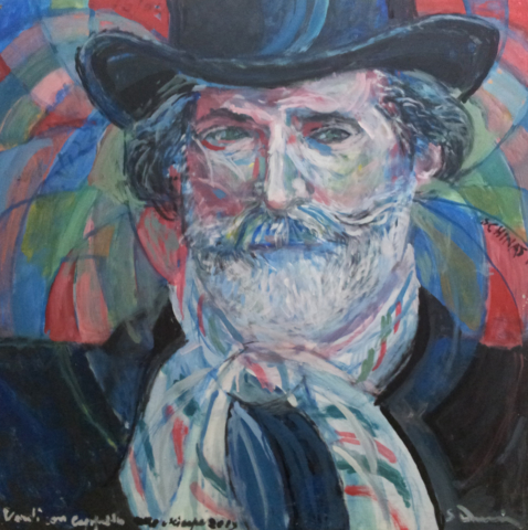 """""""Giuseppe Verdi with hat and a tricolor scarf"""" cm 80 x 80 - 2013"""