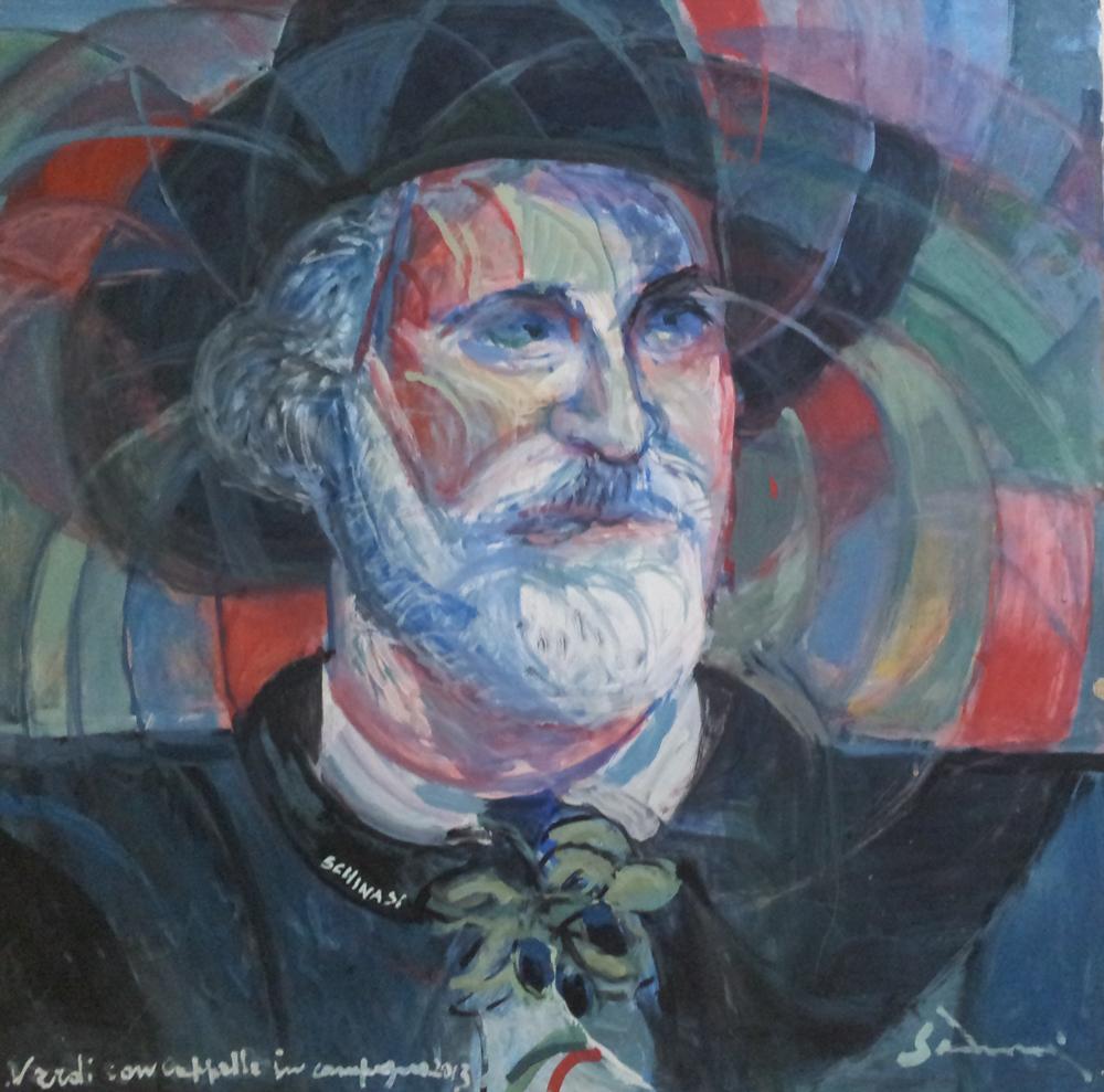"""Giuseppe Verdi portrait"" cm 80 x 80, 2013"