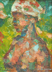 """""""African Woman"""" 1959 (Oil's Spatula) cm 24,5 x 29,5 - (Private Collection) - Price: $1,250,000.00"""