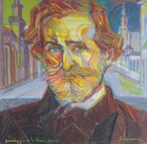 """Tribute to Giuseppe Verdi"" (Omaggio a Giuseppe Verdi) - cm 37x30, 2004"