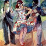"""Flamenco Dancers"" cm100x100, 1986/90 - Tempera on Masonite - Price: $ 30,000"