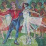 """Nice Ballet Opera"" cm90x130, 2004 - Tempera on Masonite - Price: $25,000"