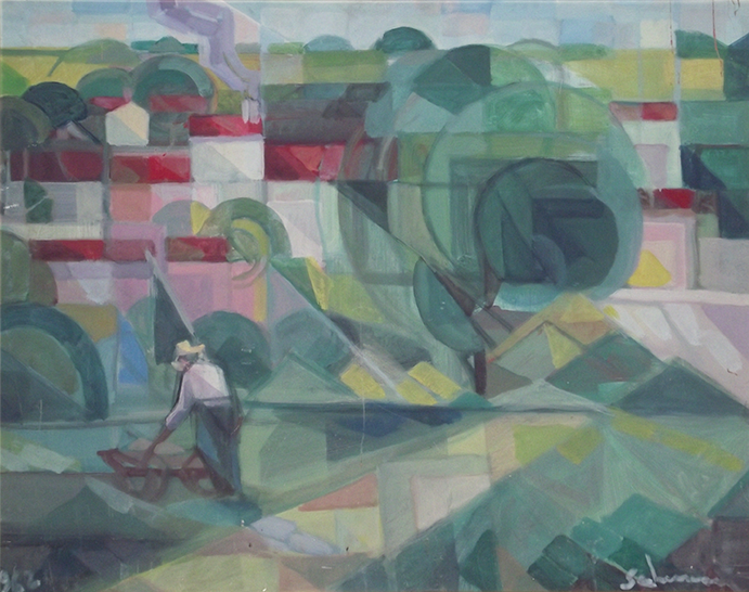 """Landscape with worker"" 1958 - (Private Collection)"