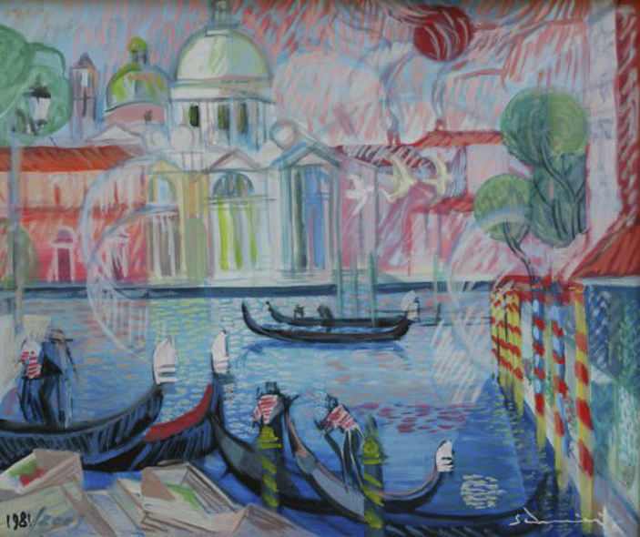 """Venice"" cm 52 x 44, 1981 (retouched on 2001) Tempera on Masonite - Price $ 7,500"