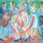 """""""Balletto Spagnolo"""" (Flamenco) 2004 - Tempera on Masonite - cm 132 x 106"""
