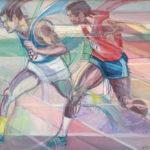 """""""Athletes"""" cm 70 x 85 1986_87 (Oil masonite)"""
