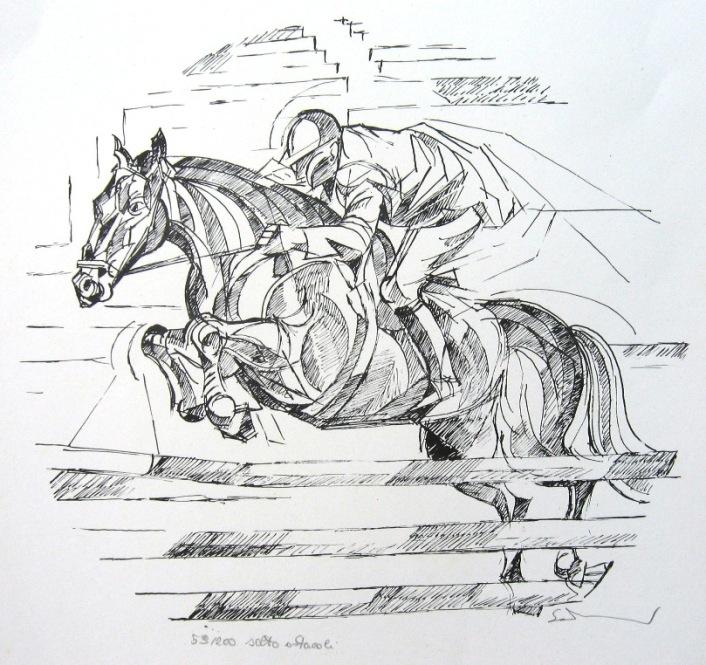 """""""Equitazione"""" – Litografia in Bianco e Nero"""