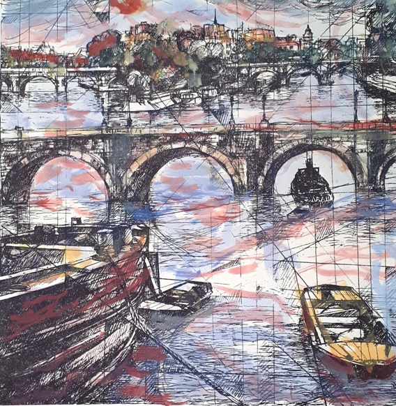 """Le Pont neuf a Parigi"" - Tecnica Mista a Colori"