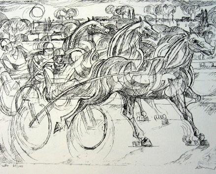"""""""Il Trotto"""" – Litografia in Bianco e Nero"""