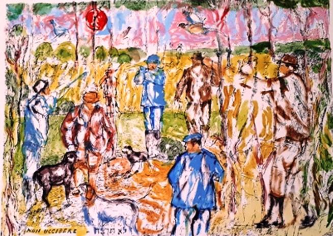 """""""La Caccia"""" – Litografia a Colori"""