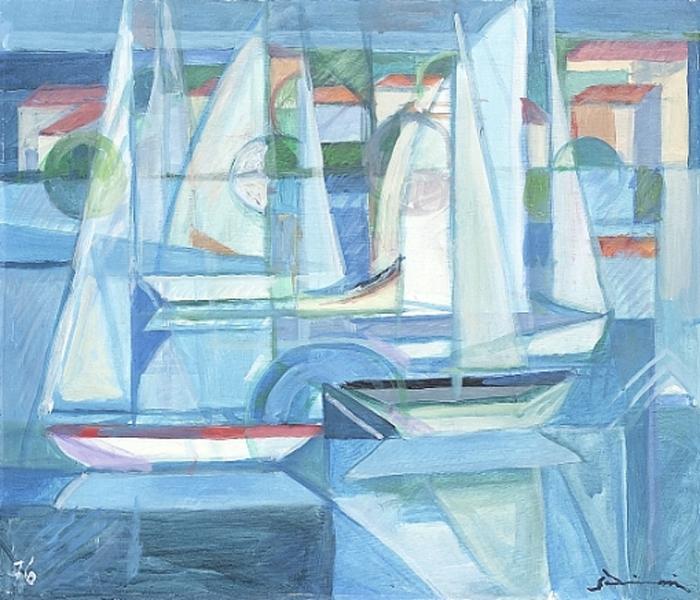 """""""Barche a vela"""" 1976 (Tempera on masonite) - Price $17,000"""
