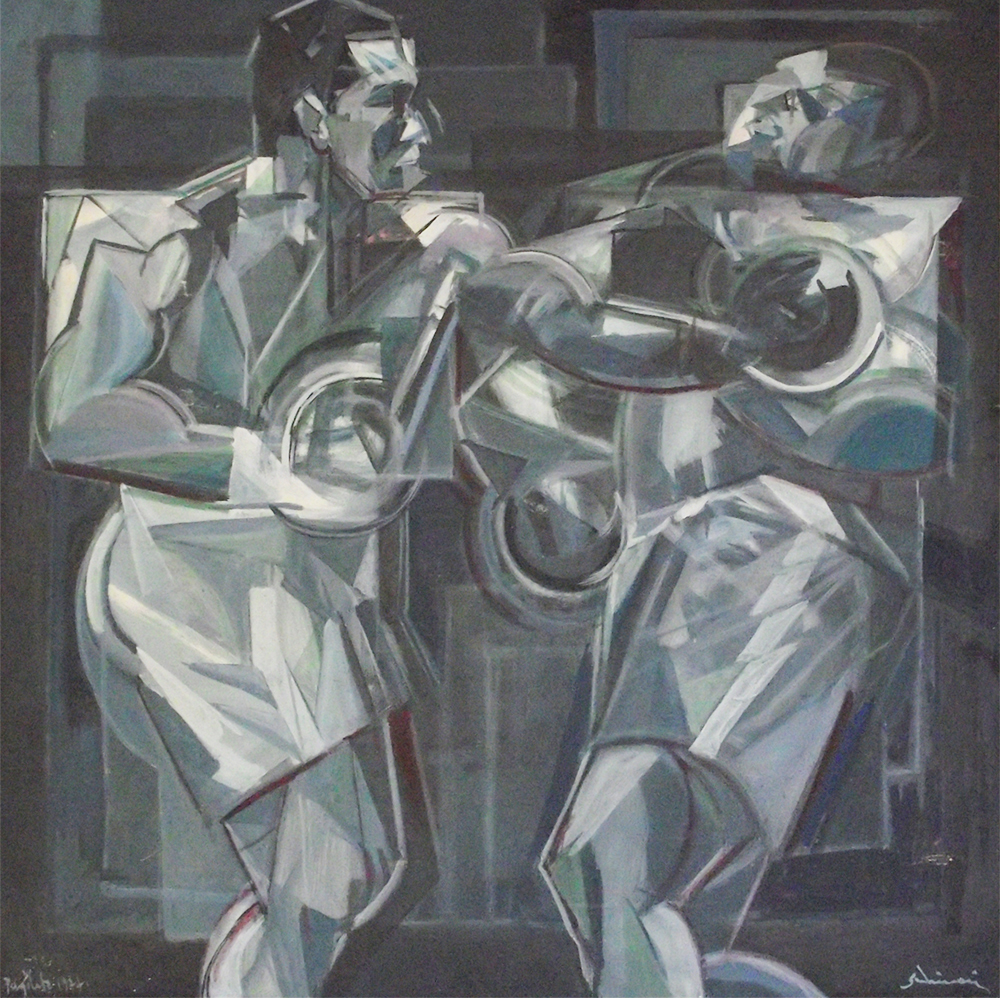 """""""Boxers"""" 1977 - Oil on Canvas - cm 70x70 (Private Collection)"""