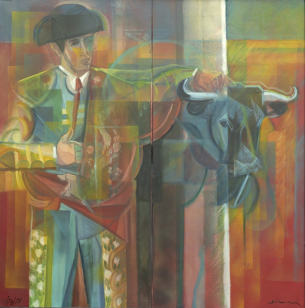 """""""Toreador and bull"""" 1974_75 cm 100×100 (Private Collection)"""